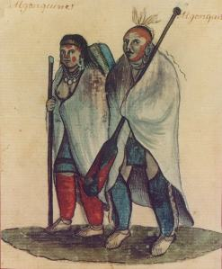An early western depiction of Algonquian people in the 17th century.
