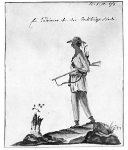 Silverman's drawing of an Algonquian Indian during the Revolutionary War.